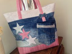 "Denim day and similar the stars"" Denim day and similar the stars"" Sacs Tote Bags, Tote Purse, Diy Bags Purses, Purses And Handbags, Jean Purses, Diy Sac, Denim Handbags, Denim Purse, Diy Handbag"