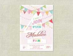 Four Birthday Bunting Flag Party Invitation by HappyHeartPrinting, $10.99