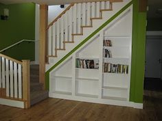 Chic Living Room Under The Stairs Design Of Home Design, Nice White Built In Shelves Under Stair Cabinet And Green For Living Room Shelves Under Stairs, Bookcase Stairs, Space Under Stairs, Stair Shelves, Staircase Storage, Stair Storage, Built In Shelves, Staircase Design, Built Ins