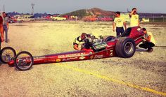 Vintage Drag Racing - Dragster - Prudhomme packing the chute