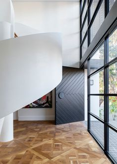 Bischoff Residence by Tom Mark Henry & UnFold Architecture - Interior - The Local Project Themes of balance, light and dark underpin a unique union of traditional and contemporary in Tom Ma Interior Design Studio, Interior Styling, Parquetry Floor, Mark Henry, Timber Door, Decoration, Light In The Dark, Interior Architecture, Entrance
