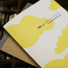 Hello! airplane card, Blue Sparrow Press