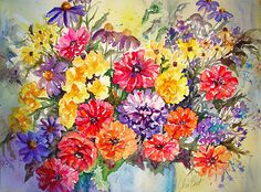 Summer Bouquet by Christine Bart Watercolor ~ x