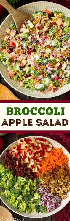 Broccoli Apple Salad. Made with carrots, red onion, walnuts, raisins or craisins and a Sweet & Tangy dressing. Ummm.