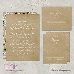 rustic kraft wedding invitation  Love Letter by minkcards on Etsy, $96.00