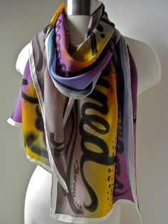 """Go confidently in the direction of your dreams. Live the life you have imagined"" -Thoreau - Silk Scarf Hand Painted by joyinmystudio on Etsy, $69.00"