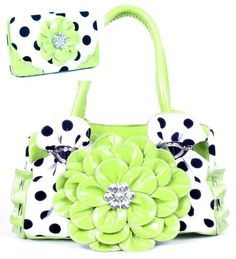 Polka Dot Lime Green Flower Rhinestone Purse W Matching Wallet