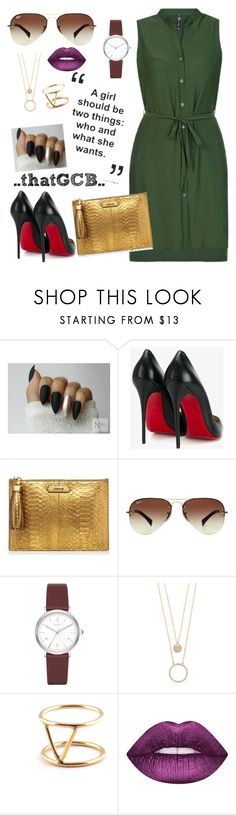 """""""...SHIRTdress, GOLD clutch purse..."""" by thatgcb ❤ liked on Polyvore featuring Christian Louboutin, Ray-Ban, DKNY, Kate Spade and SOKO"""