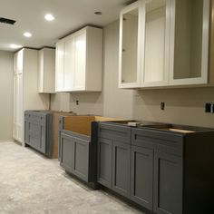 Two tone kitchen. Sherwin Williams Alabaster cabinets. Benjamin Moore Whale gray…
