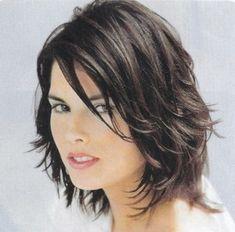 Cute Brunette Medium Length Sassy Shag Hairstyle