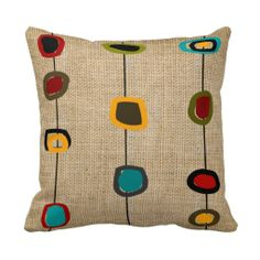 Mid-Century Modern Pillow Rectangles and Circles