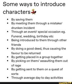 Introducing characters to the story/writing tips & tricks Book Writing Tips, English Writing Skills, Creative Writing Prompts, Writing Words, Writing Help, Writing Prompts For Writers, Fiction Writing, Writing Outline, Writing Romance