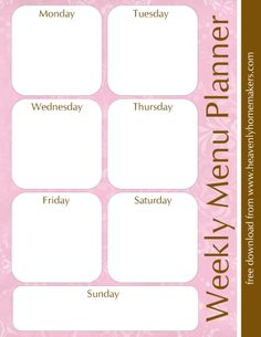 Downloadable Menu Planners and Grocery Lists...If you go to recipes link on top there is more based on season