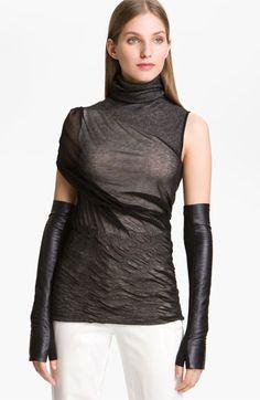 Alexander Wang Long Fingerless Leather Gloves