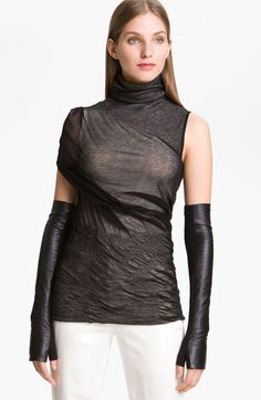 Alexander Wang Long Fingerless Leather Gloves
