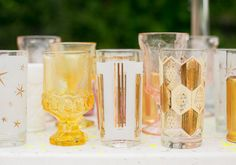 Inspire Wedding | Summer | Bright, yellow, coloured wedding glasses