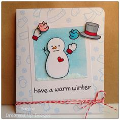 Lawn Fawn - Making Frosty Friends, Home Sweet Home by Sabine at Dreamed Up Designs.