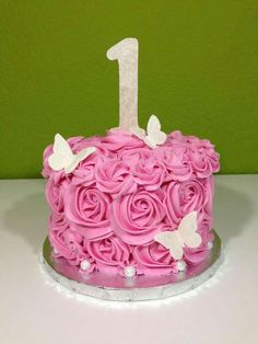 First Birthday Smash Cake Baby Cakes, Girl Cakes, Cupcake Cakes, 1st Birthday Cakes, Baby Girl 1st Birthday, Birthday Ideas, Bonbon Fruit, Bolo Laura, Fete Emma