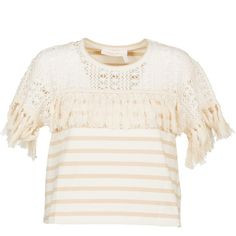 Fringed T Shirt ($103) ❤ liked on Polyvore featuring tops, t-shirts, cream, white round neck t shirt, white tees, stripe tee, crochet t shirt and fringe top