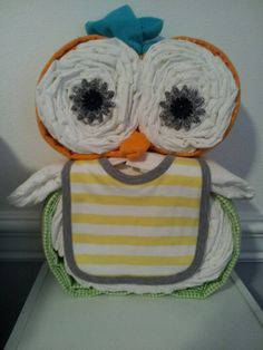 Owl diaper cake my sister made for baby shower .