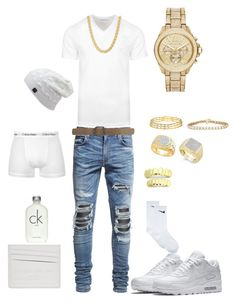 Waked out your dreams like.. by tikitress on Polyvore featuring Versace, AMIRI, NIKE, Maison Margiela, Yves Saint Laurent, Calvin Klein, Michael Kors, men's fashion and menswear