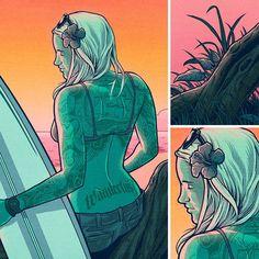 Sweet Summer's Gone -Detail #surf #surfing #surfer #surfergirl  #art #artistforhire #freelanceartist #beach #ocean #sunset