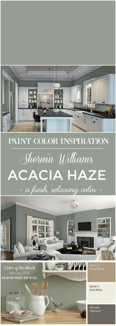 Williams Acacia Haze Paint Color Paint Color Inspiration: Sherwin Williams Acacia Green for walls.Paint Color Inspiration: Sherwin Williams Acacia Green for walls. Green Paint Colors, Kitchen Paint Colors, Exterior Paint Colors, Paint Colors For Home, Wall Exterior, Living Room Paint Colors, Exterior Shutters, Basement Wall Colors, Neutral Kitchen Colors