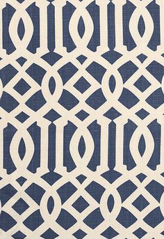 "Imperial Trellis II Schumacher Fabric  Ivory / Navy  Fabric SKU - 174411  Repeat - Straight  Width - 54""  Horizontal Repeat - 6""  Vertical Repeat - 12""  Fabric Content - 100% Linen  Country of Finish - United States of America"