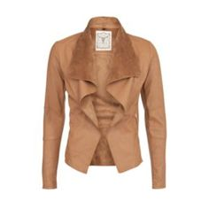 Add a little fake tan to your look - no!   not that kind! This tan brown jacket in a flattering and feminine   waterfall design comes with a suedette collar to add an extra bit of   texture and edge to your look, perfect for the season.