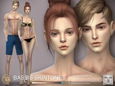 Skintone for male and female, version bassis 3.5.  Found in TSR Category 'Sims 4 Skintones'