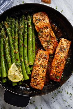 Garlic Butter Salmon with Lemon Asparagus Skillet - - Healthy, tasty, simple and quick to cook, this salmon and asparagus recipe will have you enjoy a delicious and nutritious dinner. - by healthy dinner Garlic Butter Salmon with Lemon Asparagus Skillet Asparagus Skillet, Salmon And Asparagus, Asparagus Recipe, Lemon Asparagus, Salmon Skillet, Lemon Salmon, Skillet Shrimp, Grilled Asparagus, Seafood Recipes