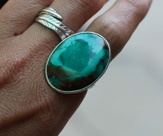 Silver Turquoise Oval
