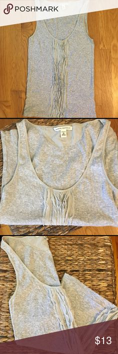 Banana Republic Gray Tank-Top! Dainty, Versatile, & Super Flattering... This is a Size Medium, Gray, Tank Top by Banana Republic.  (It Will also Fit a Small) Excellent Condition, Maybe Worn 4a Few hours Max...Top can be Easily Dressed up or Down-Wear it 2work w/Nice Pants or Under a Little Blazer, Pair it w/Jeans or Shorts & Flip-Flops 4a Cute, Simple, Casual, Weekend Look, Even Wear w/Heels 4a Night Out! Solid Gray Stretch Material, w/ Very Delicate, Pretty, Ruffles Running Down The Center…