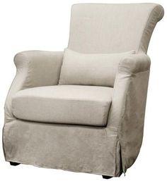 Wholesale Interiors A-620-CW-018 Carradine Beige Linen Slipcover Modern Club Chair - Each