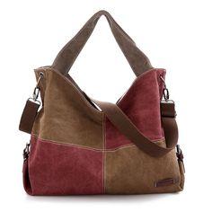 Women Contrast Color Canvas Hobos Handbags Ladies Plaid Tote Casual Bags