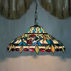 12-inch Vintage Gorgeous Flower Stained Glass Tiffany Ceiling Lamp Pendant Lamp Living Room Light Hallway Lamp