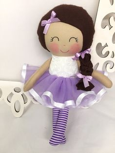 Ballerina Handmade Doll Rag Doll Fabric Dolls by SewManyPretties