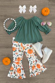 Green & White Pumpkin Bell Bottom Set Little Girl Outfits, Toddler Girl Outfits, Boy Outfits, Bell Bottom Pants, Bell Bottoms, Plaid Hoodie, Cute Cat Face, White Pumpkins, Festival Fashion