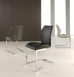 chaises PU design noir, gri ou crème WANNE
