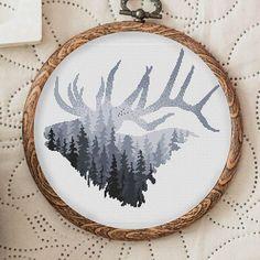 Animal Cross Stitch Pattern Nordic Deer Head Cross Stitch