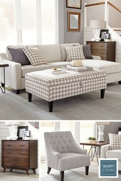 Jonathan and Drew Scott designed a modern, cozy collection of furniture and accessories that reflect your personal style. The exclamation mark of this beautiful, neutral living room is a striking houndstooth ottoman that functions as extra seating or storage. Learn more about the Scott Living collection available on Lowes.com.