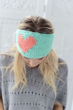 LOVE Knitted Heart Headband Mint and Coral Ear by ThreeBirdNest, anyone who wants to buy this for me for v day feel free ;)
