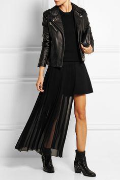 McQ Alexander McQueen|Asymmetric pleated georgette maxi skirt|NET-A-PORTER.COM