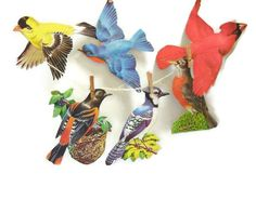 Six Vintage Dennison Bird Decorative Cut-outs by TheVintageDresser