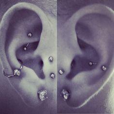 17 Ideas Piercing Tragus Vertical Conch For 2019 Snug Piercing, Ear Piercings Tragus, Cute Piercings, Types Of Piercings, Body Piercings, Piercing Tattoo, Septum, Orbital Piercing, Black White