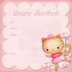Girls Birthday Party Invitation: Princess Ballerina kitty http://printablepartykits.com/girls-birthday-invitations/