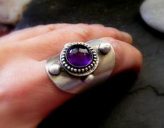Silver Statement Saddle ring with Amethyst Gemstone by dAgDesigns, £79.50