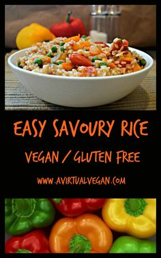 easy savoury rice - A Virtual Vegan Clean Dinner Recipes, Clean Eating Recipes, Lunch Recipes, Vegetarian Recipes, Healthy Recipes, Rice Recipes, Weeknight Recipes, Sunday Recipes, Going Vegetarian