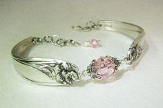 Silver Spoon Bracelet, Daffodil 1950, Light Pink Swarovski Crystals, White Pearl