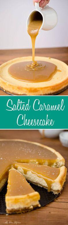 this salted caramel cheesecake is divine, creamy, smooth and tastes amazing via @ashleemariecakes